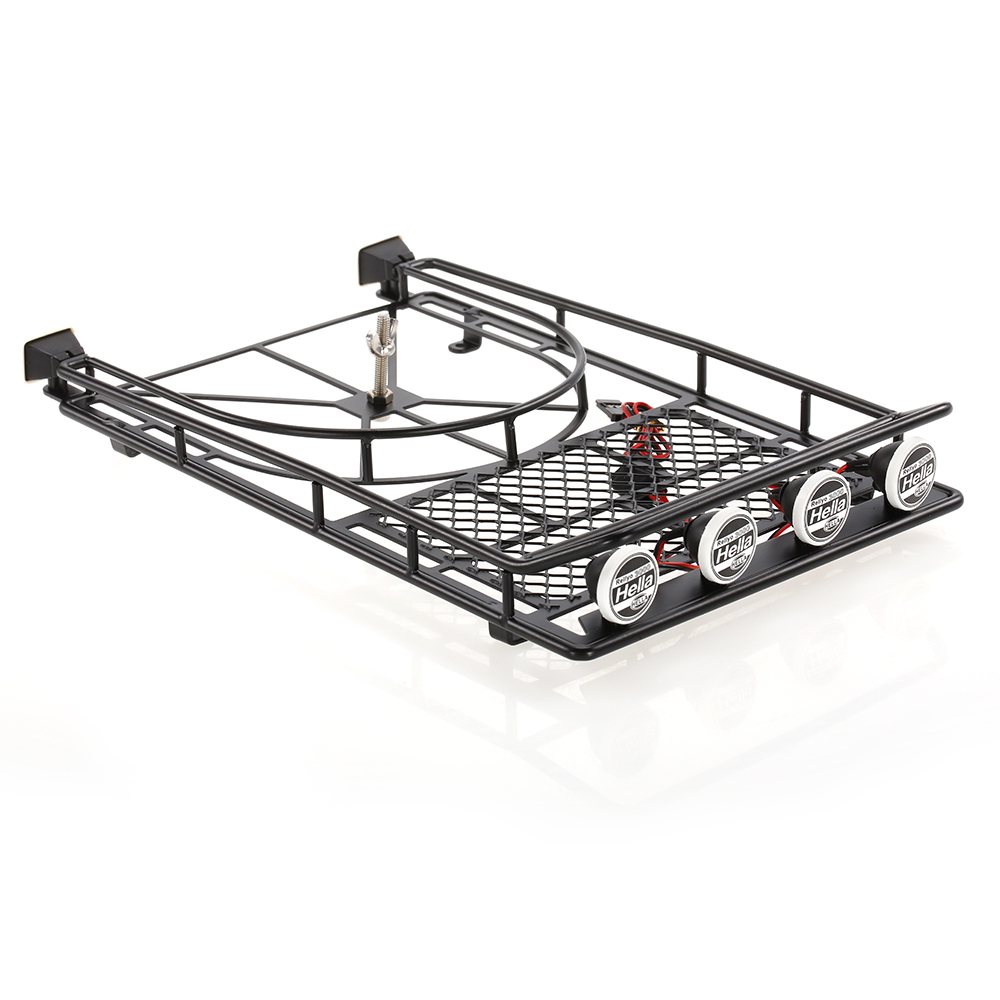 AUSTAR AX518SR Metal Roof Luggage Rack With Spare Tire Holder U0026 LED Light  For 1/10 RC SCX10 90046 D90 Crawler Car