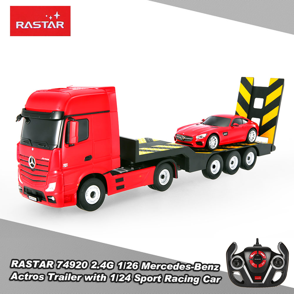 Red rastar 74920 2 4g 1 26 mercedes benz actros trailer for Rc mercedes benz