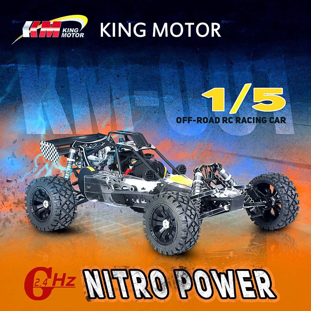 Get 73.99$ off  KM-T002 1/5 Baja 26CC RC Nitro Powered Off-road Racing Car with MT-3D 3-Channel 2.4G Transmitter