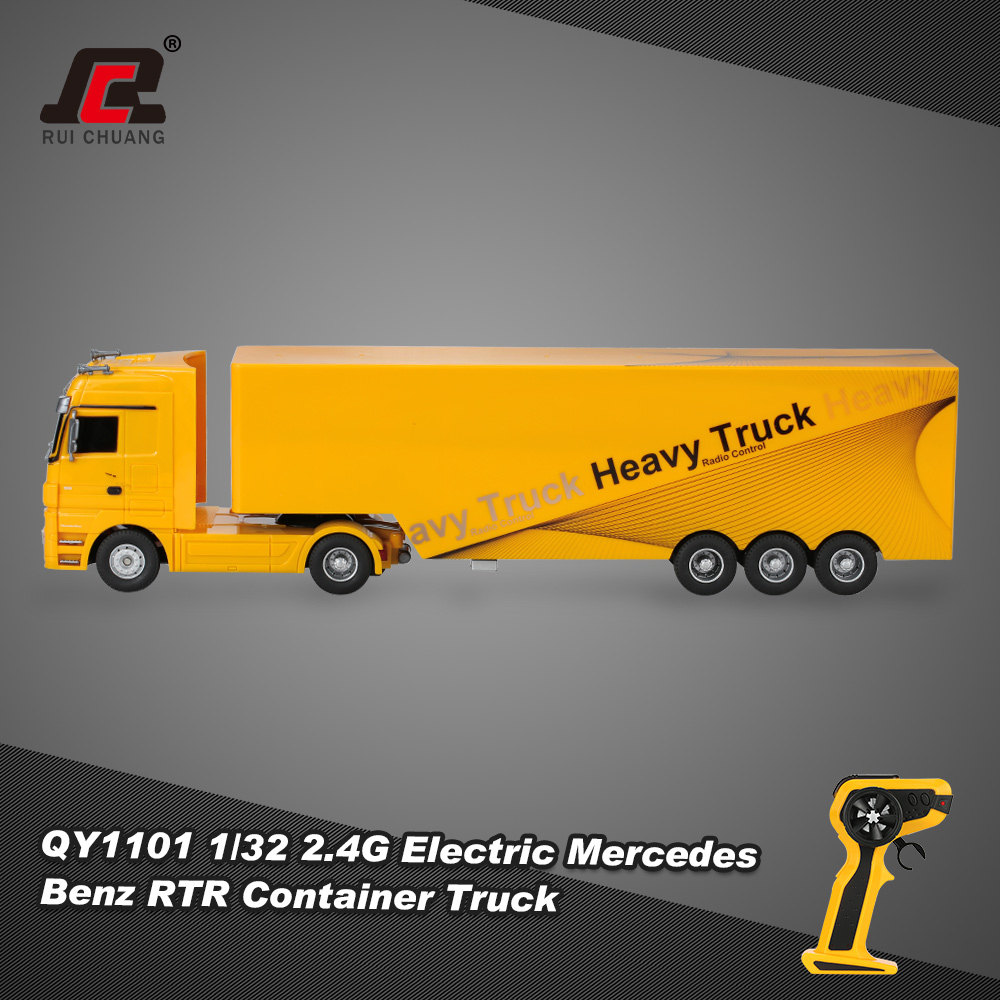 Yellow ruichuang qy1101 1 32 2 4g electric mercedes benz for Mercedes benz electric truck