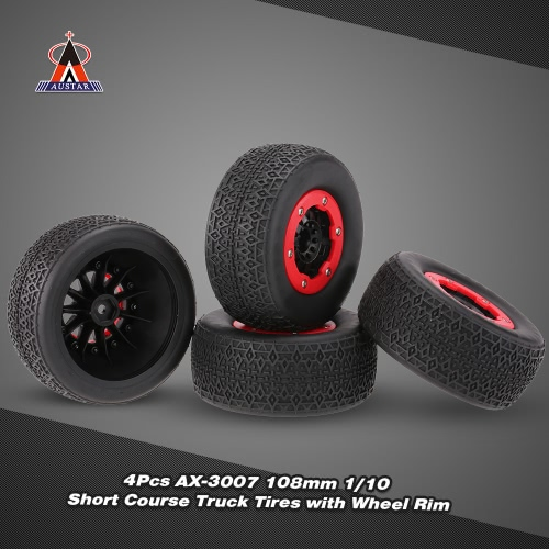 4Pcs AUSTAR AX-3007 High Performance 108mm 1/10 Scale Tires with Wheel Rim for 1/10 Short Racing Truck RC Car