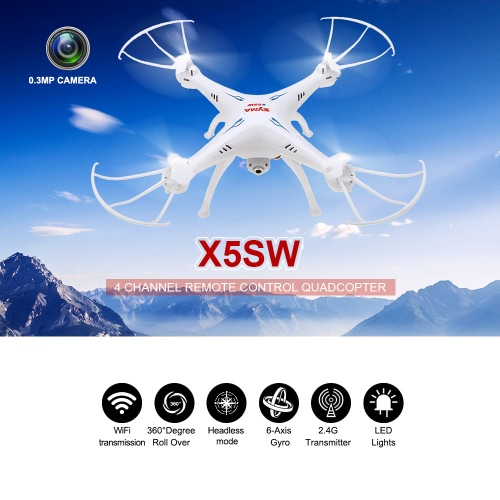 Original Syma X5SW 2.4G 4CH 6-axis Gyro RC Wifi FPV Quadcopter 0.3MP Camera Drone with Two Extra Batteries
